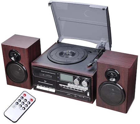 AW Classic Bluetooth Record Player System w: 2 Speakers