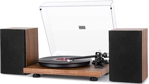 1byone Wireless Turntable HiFi System with 36 Watt Bookshelf Speakers