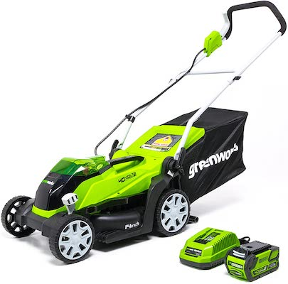 Greenworks 40V 14 inch Cordless Lawn Mower, 4Ah Battery and Charger Included