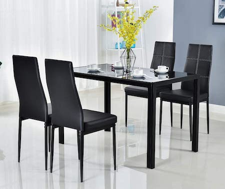 Bonnlo 5 Pieces Dining Set Black Dining Table and Chairs Set for 4 Persons