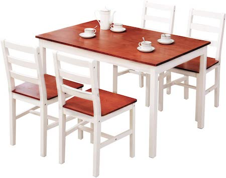 mecor 5-Piece Wood Dining Table Set, Kitchen Table w: 4 Chairs Set Solid Pine Wood Frame for Home Kitchen Breakfast Furniture